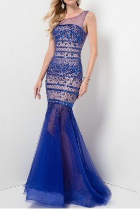 Royal Blue Embellished Illusion Gown Prom Dress