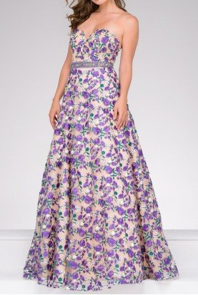 Embroidered Floral A line Ball Gown Prom Dress