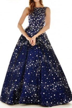 Navy Sparkly Embellished A Line Ball Gown 71054