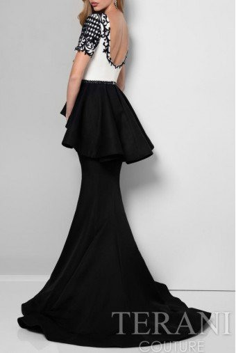 Terani Couture Black and White Colorblock Dramatic Mermaid Gown