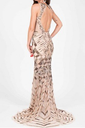Terani Couture Beaded Open Back Gown in Gold Nude Prom Dress