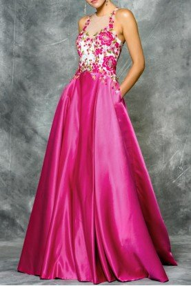 1640 Pink Floral Embroidered A Line Prom Ball Gown