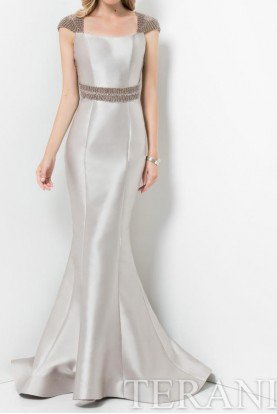 Elegant Beaded Cutout Evening Gown in Taupe Pearl