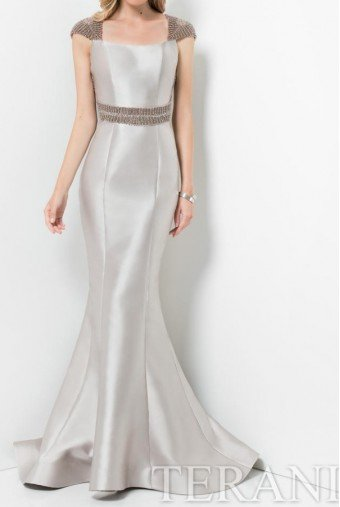 Terani Couture Elegant Beaded Cutout Evening Gown in Taupe Pearl