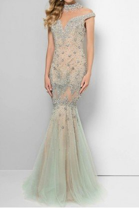 Illusion Crystal Beaded Mermaid Gown Nude Silver
