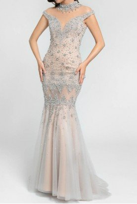 Illusion Crystal Encrusted Mermaid Gown in Blush