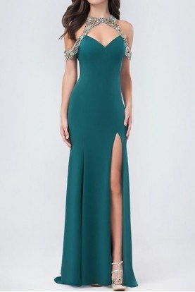 Dark Green Emerald Charmed Trumpet Gown 3245RE