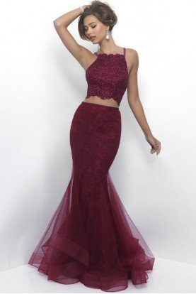 11224 Burgundy Wine Lace Mermaid Two Piece Dress