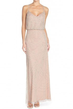 Beaded Blouson Gown in Silver Nude