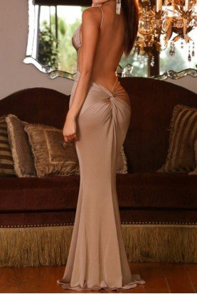 Nude Gold Deep V Open Back Jolie Gown Dress