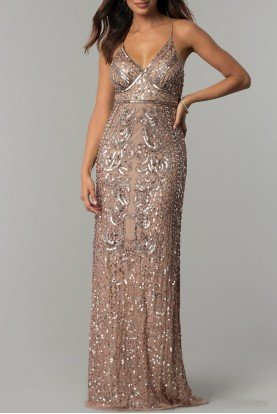 Marina Rose Gold Taupe Art Deco Beaded Gown