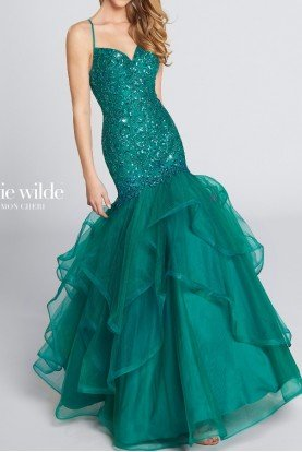 Gorgeous Beaded Mermaid Applique Gown in  Teal