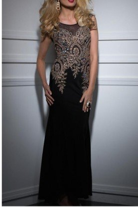 Black Gold Beaded Embellished Evening Gown 4507