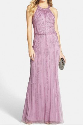 Adrianna Papell LILAC PINK BEADED GOWN