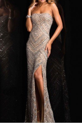 48705 Strapless Beaded Sheath Gown Evening Dress