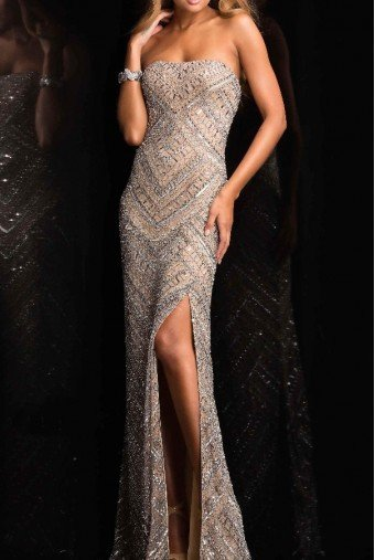 Scala 48705 Strapless Beaded Sheath Gown Evening Dress
