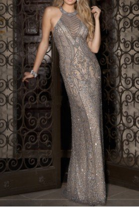 Halter Beaded Lead Evening Gown Dress 48690