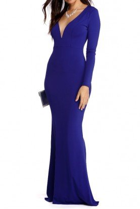 Cobalt Royal Blue Long Sleeve Plunge Bodycon Gown
