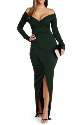 Hunter Green Wrap Bodycon Long Sleeve Gown Dress