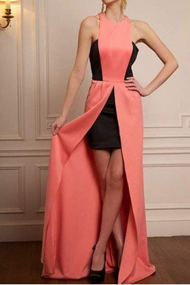 Jovani Coral Black High Low Scuba Gown Prom Dress