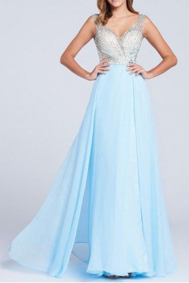 EW117015 Sky Blue Chiffon Tulle Beaded Gown Prom