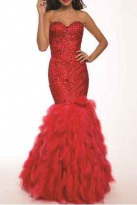 Red Feather Mermaid Gown 92526 Chic Evening Dress