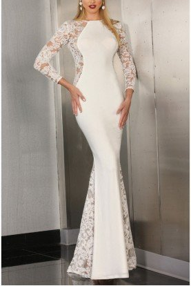 IVORY AND LACE PANEL GOWN