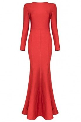 Red Bandage Long Sleeve Mermaid Evening Gown
