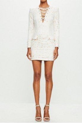 White Lace Long Sleeve Mini Short Dress