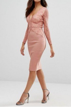 Rose Long Sleeve Scalloped Midi Cocktail Dress
