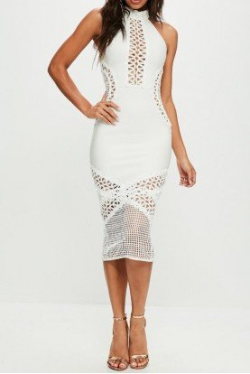 WHITE BANDAGE BODYCON CUTOUT MIDI DRESS