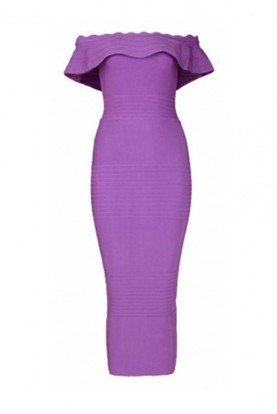 Orchid Ruffle Bodycon Midi Cocktail Dress