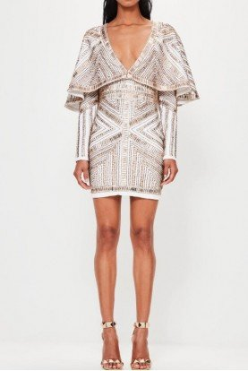 DEEP V KIMONO EMBELLISHED COCKTAIL DRESS