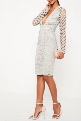 Missguided Light Grey Plunge Midi Dress