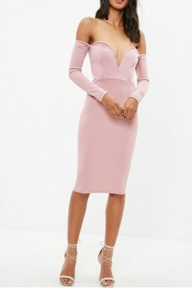 Missguided V BAR BLUSH OFF SHOULDER MIDI DRESS
