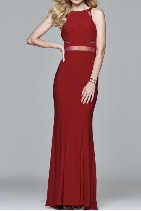 Ruby Red Halter illusion Insert Prom Dress 7921