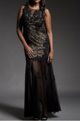 BLACK MESH APPLIQUE FLORAL GOWN