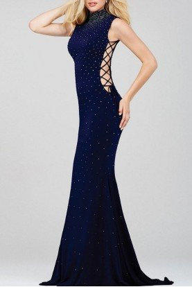 36087 Navy Lace Up Studded Gown Long Dress Prom