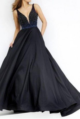 Midnight Blue A Line Ball Gown Dress 32336