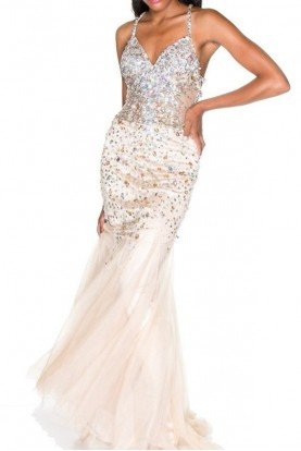 Crystal Beaded Bombshell Gown Prom Dress