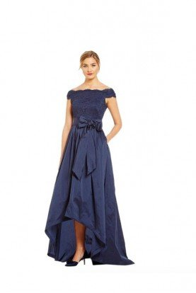 Lace  High Low Gown Blue Navy Off Shoulder Dress