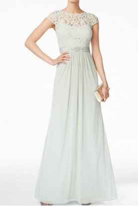 Cap Sleeve Mint Lace Illusion Gown Dress