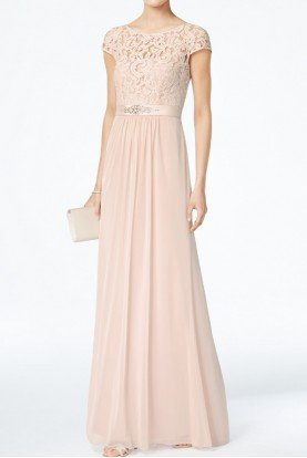 Blush Cap Sleeve Lace Illusion A Line Gown Dress