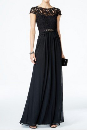 Black Cap Sleeve Lace Illusion Gown Dress