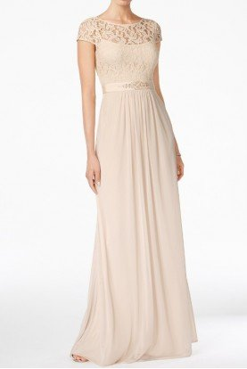 Cap Sleeve Lace Illusion Gown Dress in Almond