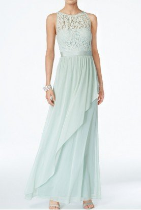 Lace Illusion Halter Gown Dress Mint