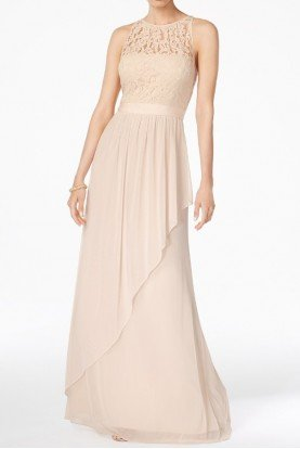 Lace Illusion Halter Gown Dress Almond Champagne