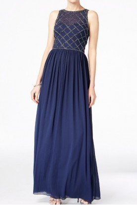 Navy Beaded A Line Gown Bridesmaid Dress
