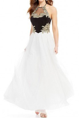 Halter Neck Embroidered Applique Ball Gown