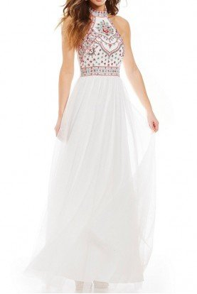 Mock Neck Embroidered Bodice Ball Gown